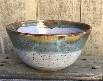 Handmade Speckled White and Green Bowl