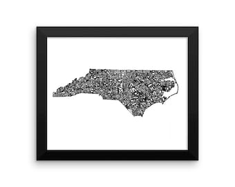 North Carolina typography map art FRAMED print personalized custom state poster wall decor engagement wedding housewarming gift beach