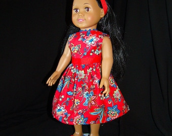"American Girl Style 18"" Dolls fit into this Red & Blue Tropical Spring or Summer Dress! Beautiful Outfit for School or Dress Up Doll Clothes"