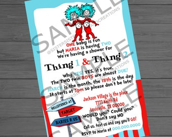 Thing 1 and Thing 2 Baby Shower,Dr.Seuss Baby Shower Invitation, Twin baby shower 4x6 Invitation
