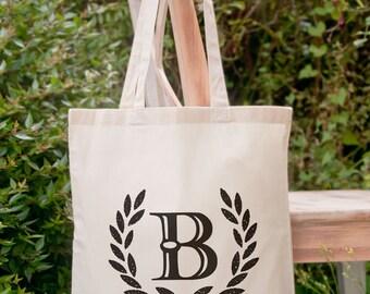 Custom initial monogrammed tote bag-personalized initial tote bag-custom tote-wedding tote-school bag-Bridesmaid tote-NATURA PICTA NPTB043