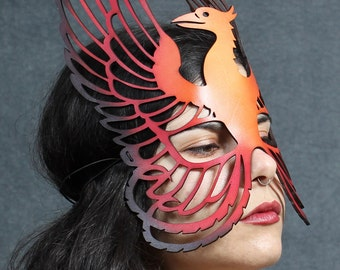 Phoenix leather mask in oranges