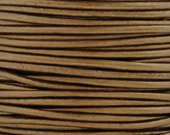 Leather-3mm-Round Cord-Metallic Kansa-10 Meter Spool