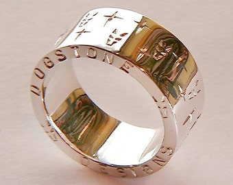 Hand Made Chunky Dogstone Sterling 925 Silver Ring with Dog Heads and Crosses Carved into the Band