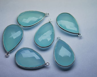 925 Sterling Silver, Aqua Chalcedony Faceted Pear 28mm Stones, 1 Pieces of 28mm