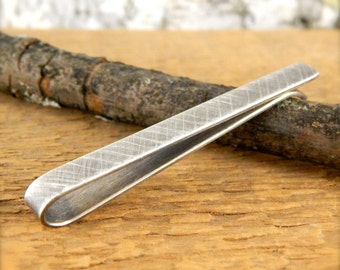Personalized tie clip, SOLID sterling silver tie bar, *oxidized crosshatch finish* custom tie clip, 2 inches x 5 mm, 1 mm thick.