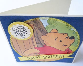 Birthday Card - Winnie the Pooh repurposed Little Golden Book Greeting Card