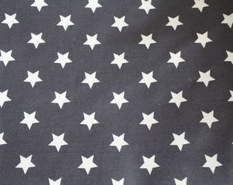 Laminated cotton fabric grey stars 50 x 70 cm