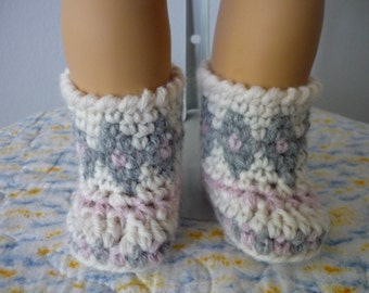 Crocheted Tribal Mukluks Booties for 18 inch dolls