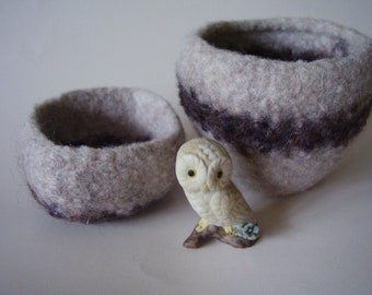 felted wool bowls set of 2 containers oatmeal and chocolate