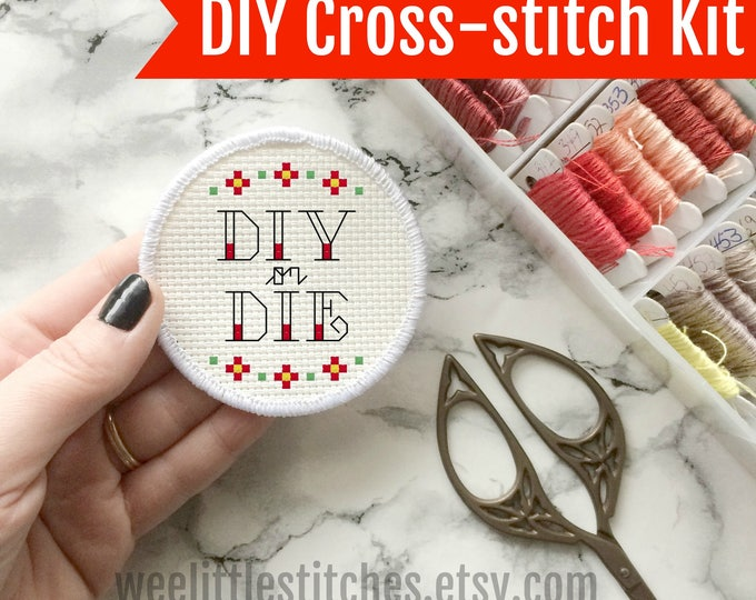 Featured listing image: Stitchable Patches - DIY or DIE patch KIT - cross stitch patch kit
