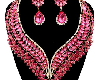 Pink Crystal Statement Vine Evening Necklace Set