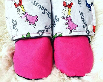 Dr suess inspired baby/toddler stay put boots. Every pair is completely customizable and made to order.