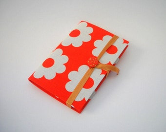 Journal notebook Handmade journal lined journal Orange white Retro flowers journal notebook writing journal diary with gold stars button