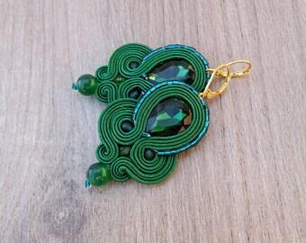 Emerald Earrings, Dangle Earrings, Soutache Earrings, Green Earrings, Dangle Earrings, Soutache Jewelry , Emerald Green and Gold Earrings