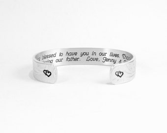 """Stepmother Gift """"We are blessed to have you in our lives.  Thank you for loving our father. Love, (personalized)"""" 1/2"""" hidden message cuff"""