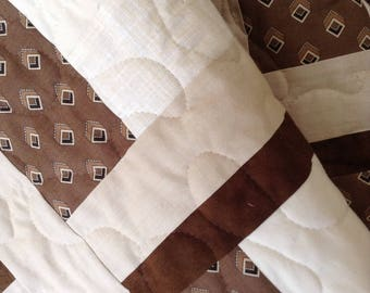 """Brown/Tans Lap Quilt- 55"""" x 76"""" - Mixture of Fabrics for Moda - Contemporary/Modern - Ready to Ship"""