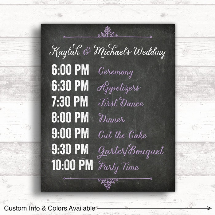 Order Of Reception Events At Wedding: Print Or Canvas Wedding Timeline Sign Wedding Event Sign