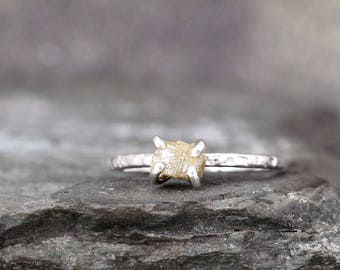 1 Carat Rough Diamond Ring - Honey Tone Raw Uncut Diamond - Hammered Texture Sterling Silver Gemstone Ring - Engagement Ring - Stacking Ring