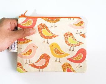 Zipper Pouch, Paisley Birds, Zip Purse, Organizer, Kid Friendly, Gift for Children, Coin Purse, Wallet, Card Holder, Animal Lover, Orange