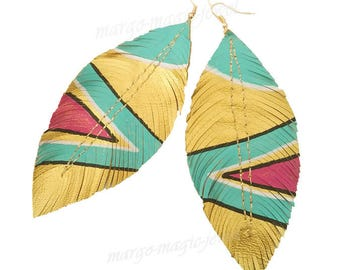 Glitter Feather Earrings, Bohemian Jewelry, Cochella, Boho Bride, Metallic Leather, Bridal Earrings, Boho, Large Earrings, Feather