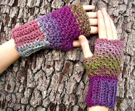 Crocheted Fingerless Gloves Mittens - Fantasy Pink Fingerless Gloves - Pink Gloves Purple Gloves Womens Accessories Fall Fashion