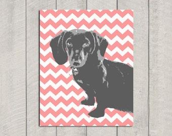 Dachshund Art Print - Modern Dog Art - Pink Chevron