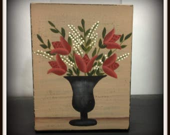 Primitive Folk Art Flowers Shelf Sitter Wood Block Home Decor