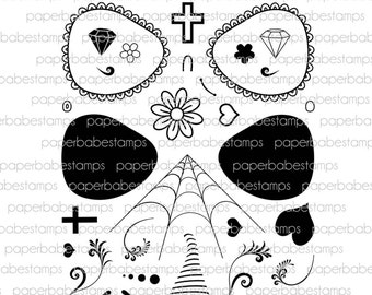 Sugar Skull Stamp Set - Paperbabe Stamps - Clear Photopolymer Stamps - For paper crafting and scrapbooking.