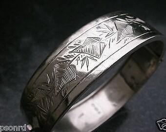 An Original & Ornate Antique English - Victorian Sterling Silver Bracelet - Bangle - 1883