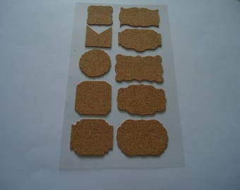 set of 10 STICKERS - CORK - various shapes