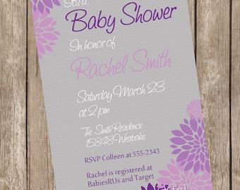 Neutral Baby Shower Invitation Purple and Grey Flower printable invitation