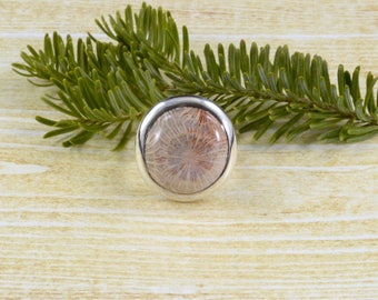 Circular Fossilized Coral Ring // Coral Jewelry // Fossil Jewelry // Sterling Silver // Village Silversmith