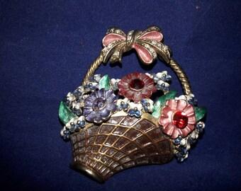 Vintage Woven Flower Basket Brooch - Rhinestones