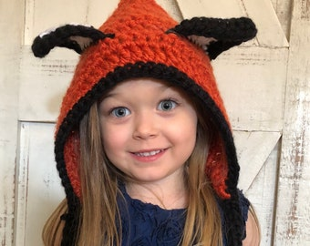 Handmade, children's, crochet, fox hood
