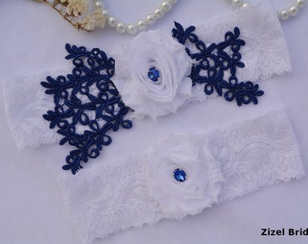 Navy Blue Garter, Wedding Garter Set, Flower Garter, Lace Wedding Garter, Bridal Garter, White Wedding Gift, Handmade Garter, Bridal Garter