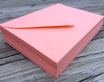 50 Coral A7 Invitation or A1 (4Bar) RSVP Pointed Flap Envelopes - Peach Coral Paper Source Envelope