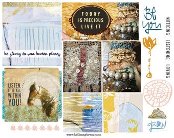 New Original Art Page for Immediate Download - Journaling, Scrapbooking, Mixed Media Supply