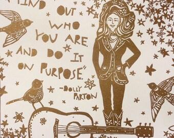Letterpress Print / Dolly Parton/ Original/ Cut paper/ Gold/ Flocking/ Quote/ Flowers/ Music/ Birds
