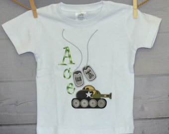Personalized Military Tank & Dog Tags Applique Shirt or Bodysuit Boy or Girl