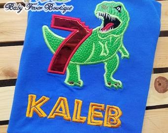 Dinosaur t rex custom birthday shirt