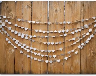 Guirnalda de corazones de papel - boda Garland - corazones de Diccionario de corazones de papel - 5 ó 10 yardas - Vintage - listo para enviar