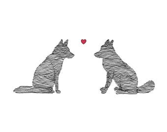 Foxes in Love Card