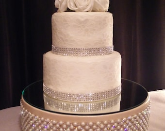 bling wedding cake stand with pearls podium etsy 11935