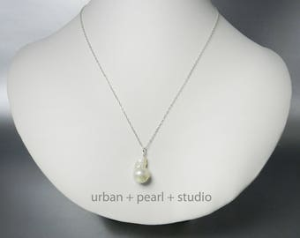 Baroque Pearl Necklace Large Baroque Pearl Pendant Gifts Under 30 Dollars Big Pearl Drop Unique Pearl Necklace BPN13