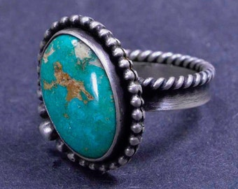 Turquoise Ring, Royston, Sterling Silver, Metalsmith Ring