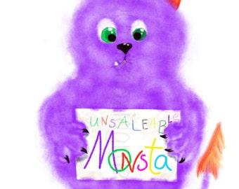 "Printable Art for Children, ""Unsaleable Monsta"", Wall Decor, Print, Home Decor, Wall Art, Digital Download"