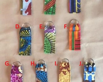 Lip Balm Holder in African Fabric/Chapstick Holder/Lip Balm Key Ring/Chapstick Key Ring/ African Fabric