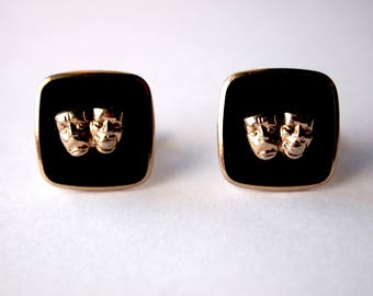 Vintage Mens 1970s / 70s Classic Dapper Dandy Comedy Tragedy Mask Black and Gold Drama Theatre Motif Cuff Links