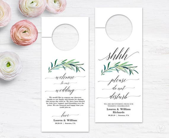 Wedding Door Hanger Printable Door Hanger Template Please Do